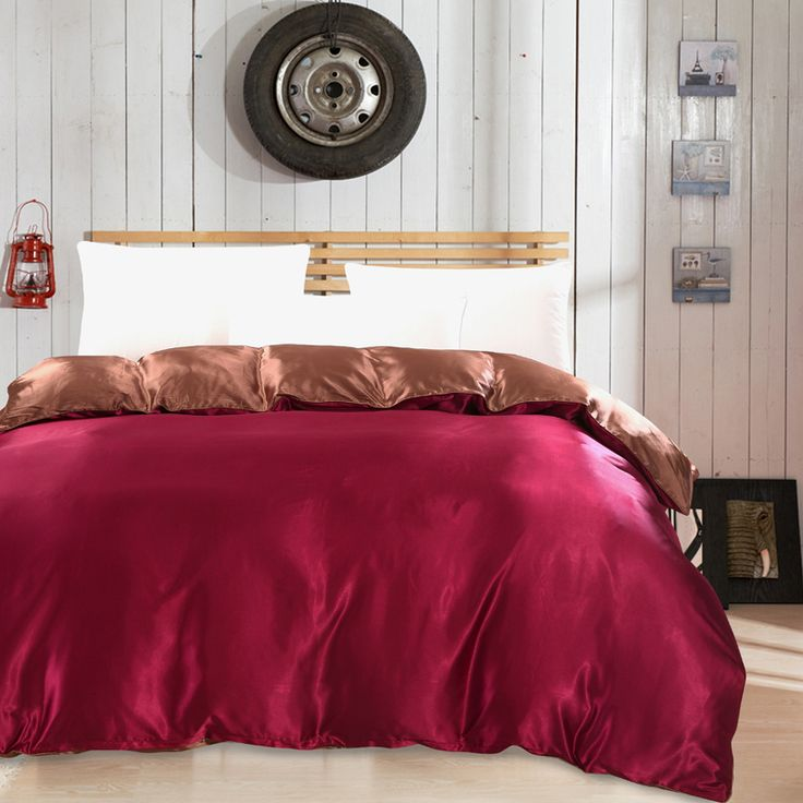 Cheap duvet cover, Buy Quality home textile directly from China duvet queen size Suppliers: Wine red and brown Luxury Silk Twin Full Queen King Size Duvet Cover Tribute satin  quilt cover Luxury Home Textiles Quilt sets