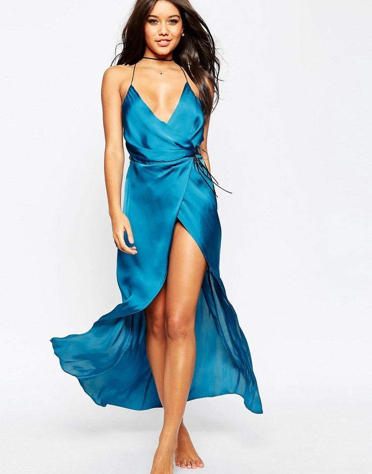 ASOS+Ruched+Side+Satin+Maxi+Slip