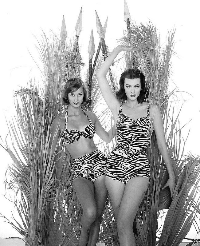 Fabulous animal print swimwear, 1959. #vintage #summer #1950s