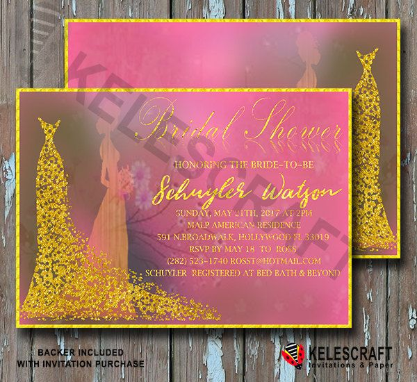 Goldest Pinky Bridal Shower Invitataion shiny shin invitation invite wedding bride dress shower party  gold glitter DiY printable invitation by KelesCraft on Etsy