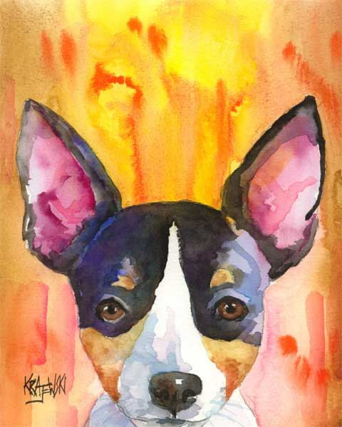 Rat Terrier Art Print of Original Watercolor by dogartstudio