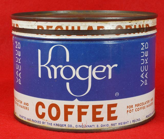 Kroger Coffee Tin 1lb  RD1643  Go back to Tins For Sale: http://www.bagtheweb.com/b/J0Rebh  Go back to Tin Can Alley - FOR SALE: http://www.bagtheweb.com/b/PBdAfQ