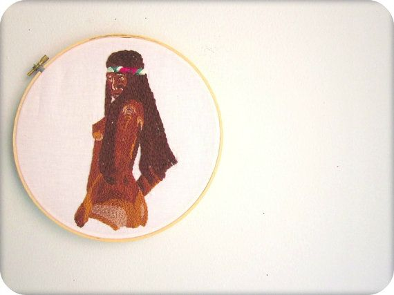 embroidery art WILD ONE ebony girl hand stitched by BADGRAMMAR