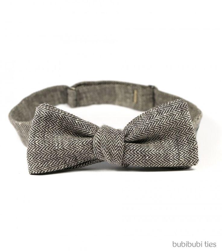 Brown herringbone linen bowtie - bubibubi ties