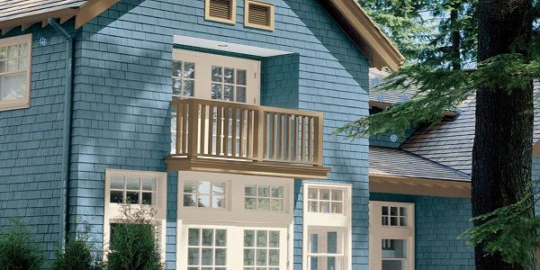 Exterior House Color Palette with Sky Blue and Cream also Green-Tinted Beige