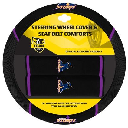 NRL Melbourne Storm Steering Wheel Cover Pack - Black, Steering Wheel Cover & 2 Seat Belt Buddies - Supercheap Auto