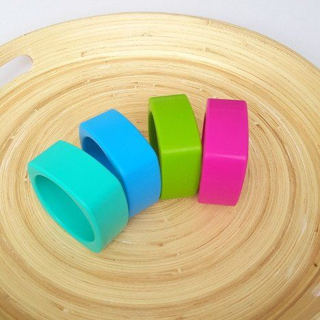 Charlie Cubey Silicone Bangle. Mummy Couture silicon jewellery makes the perfect new mum gift or hard to buy for second time mum gift. Ideal for baby showers, christening presents or just a fabulous way to add some colour to any outfit.  Our silicone jewellery is made from 100% food grade silicone and is gentle on tiny faces and gums. Free from BPA and other nasties, complies with Australian safety standards.