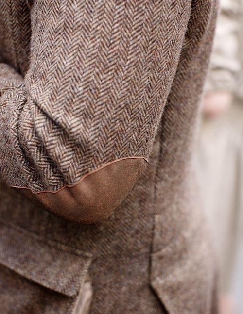 Suede and tweed, like these elbow patches, are subtle ways to add preppy style to any look