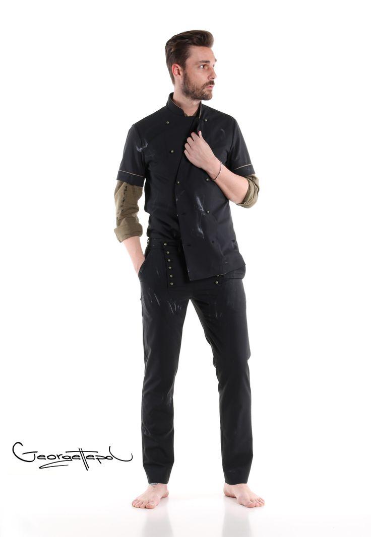 Jacket black canvas - Military linen shirt - Black canvas bottoms #trousers #bottoms #canvas #fashion #man #painted #summer #shirt #linenshirt #black #jacket #chef #iammyself #military #black #style #georgettepol