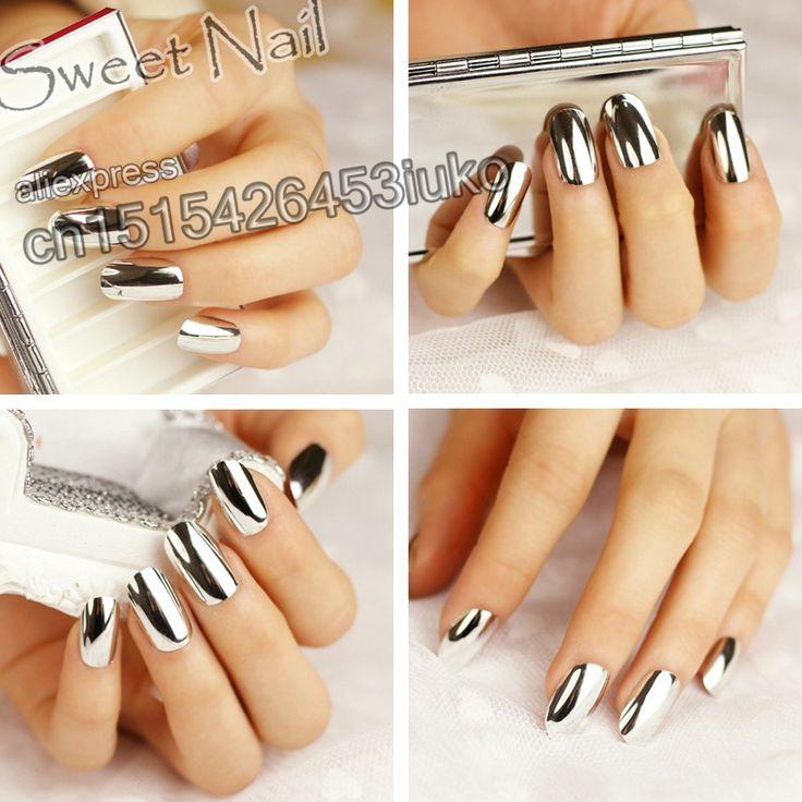 Sexy thời trang móng tay giả nail kim loại tấm ngắn kích thước Tinh Khiết Bạc N06