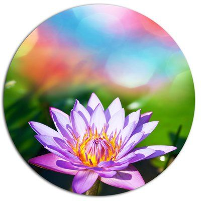 "DesignArt 'Purple Lotus on Abstract Background' Flower Photographic Print on Metal Size: 11"" H x 11"" W x 1"" D"