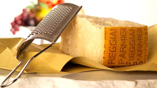 PARMIGIANO REGGIANO, a loaf of hard bread and a glass of wine - nothing better!