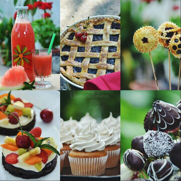 Cupcakes, pie pops, cherry pie, chocolate strawberry