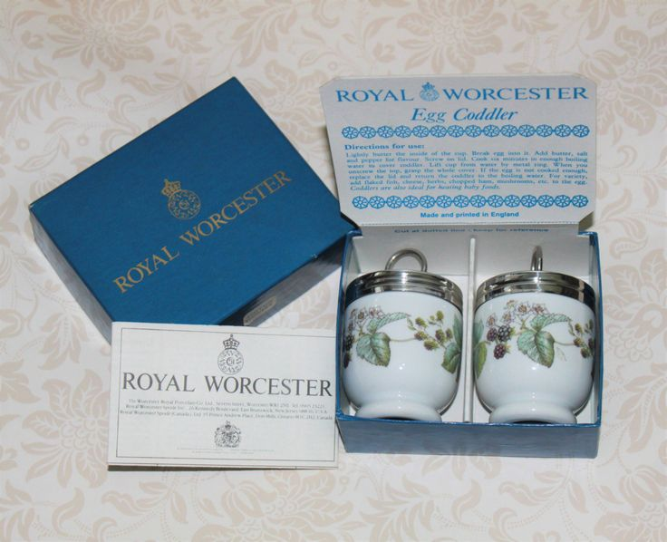 Pair of Egg Coddlers  'Lavina' Fruit and Bramble Design in Original Presentation Box by Royal Worcester of  Great Britain by AtticBazaar on Etsy