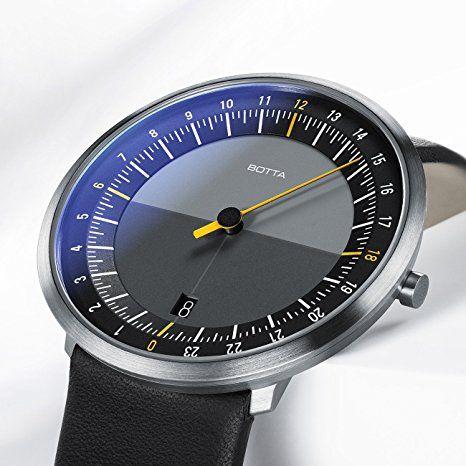 Einzeigeruhr 24 Stunden Quarz, Armbanduhr – UNO 24 von Botta-Design – Einzeiger-Uhr für Herren mit 24h Zifferblatt – Uhren aus Edelstahl, schwarzes Ziffernblatt, Saphirglas Antireflex, Lederband: Amazon.de: Uhren