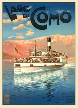 Lago di Como 1905 Italy - Beautiful Vintage Poster Reproduction. This vertical Italian travel poster features a boat full of people moving across a lake with pastel mountains in the background. Giclee Advertising Print. Classic Posters