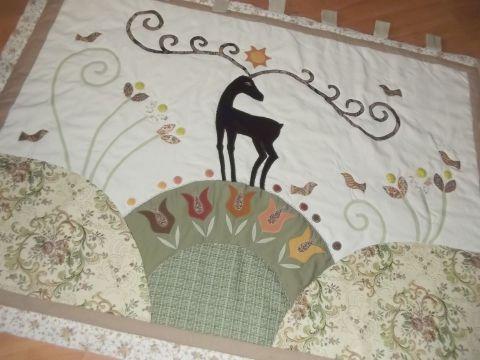 Falikép  szarvasokkal, tulipánokkal - KÉSZLETEN, Otthon, lakberendezés, Dekoráció, Lakástextil, Kép, Meska