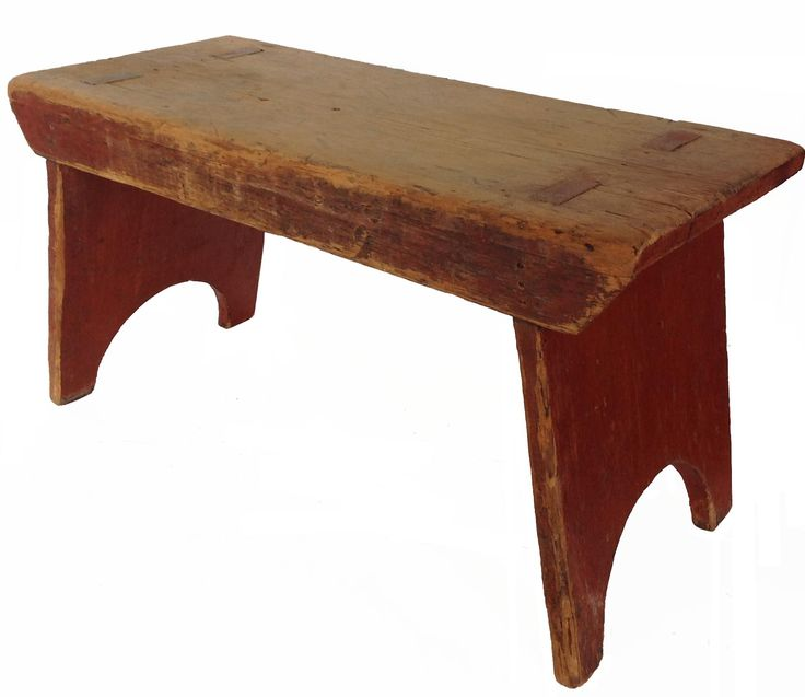 Attractive Tall Benches Part - 7: A14 19th Century Small Bench With The Original Dry Red Paint The Legs Are  Mortised Thought