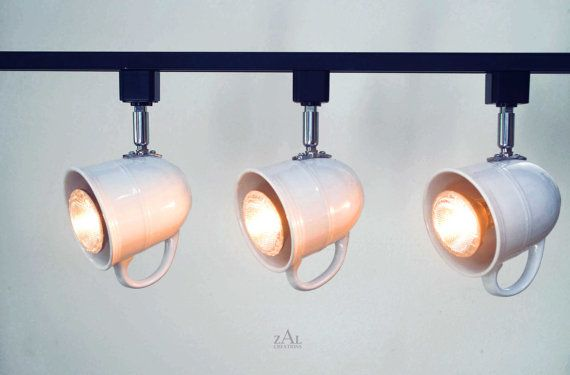 Set of 2. Custom listing. Coffee mugs Track Lighting Fixture. 3 Track lights & Track