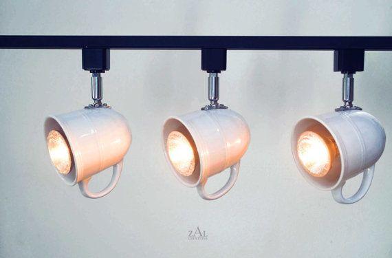 Set of 2. Custom listing. Coffee mugs Track Lighting Fixture. 3 Track lights & Track