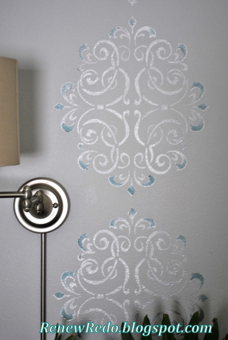 ReNew ReDo!: Rub n' Buff Wall Stencil ~ How To...i also like the idea of using the same wall color but in a semi gloss.  The stencil is more subtle and very elegant.  I would also use spray adhesive on the stencil to adhere firmly to the wall.