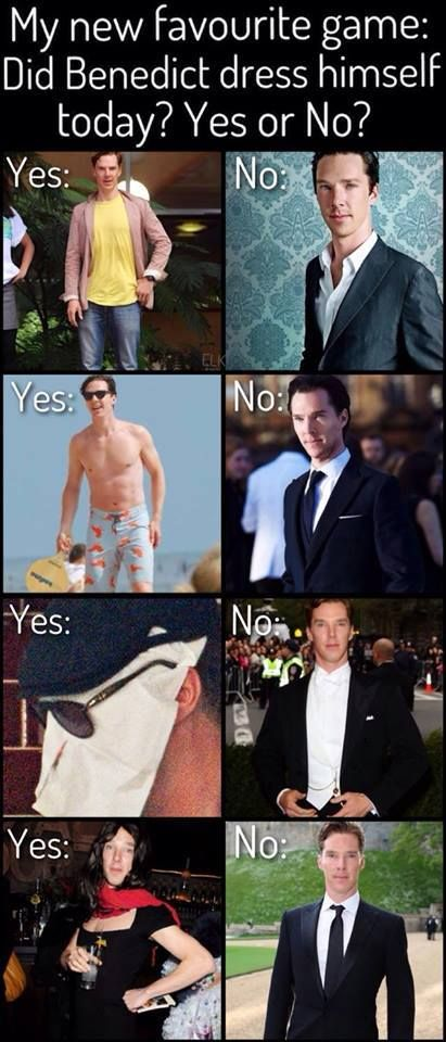 """Dying of laughter - I wonder if this is actually the case, lol. """"Mr. Cumberbatch, you have to wear a nice suit."""" """"But that's so ORDINARY. Oh, fine."""" (melodramatic sigh) xD"""
