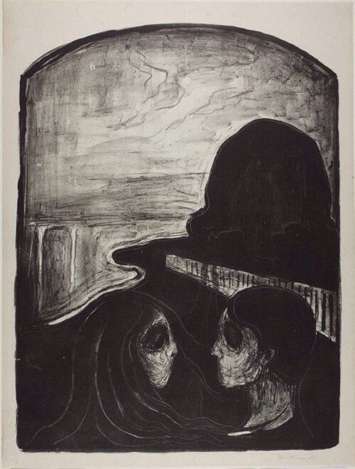 Sadness and fear for the road ahead. It make me thank this because of the the eyes remind me of fear and sadness like they cry'd their eyes out. The path ahead come from the path in front of them. Made by Edvard munch