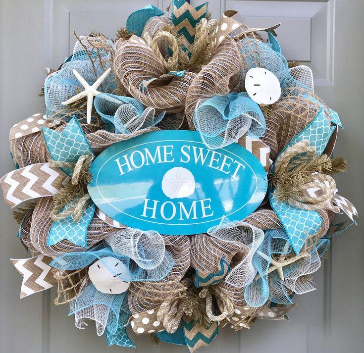 Home Sweet Home Beach Burlap Deco Mesh Wreath with Seashells, Seashell Wreath, Beach Wreath, Starfish Wreath