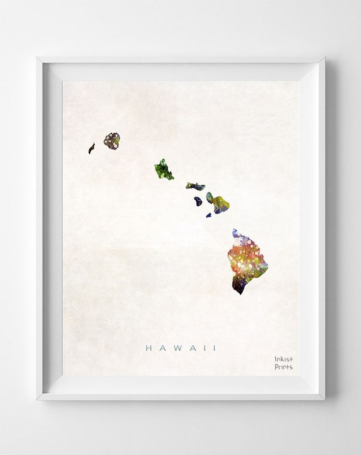 Hawaii Watercolor Map Print, it would be really cool to just get one of these for everyplace you go.