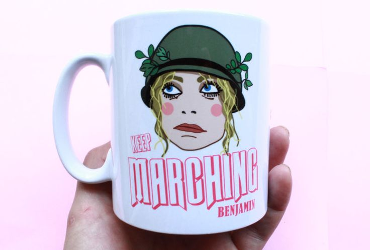 A movie quote mug for film buffs and Goldie Hawn fans. This Private Benjamin mug comes with the design printed on both sides and features an illustrated scene from the 1980's hit comedy movie Private Benjamin.Keep marching Benjamin* Earthenware* D...