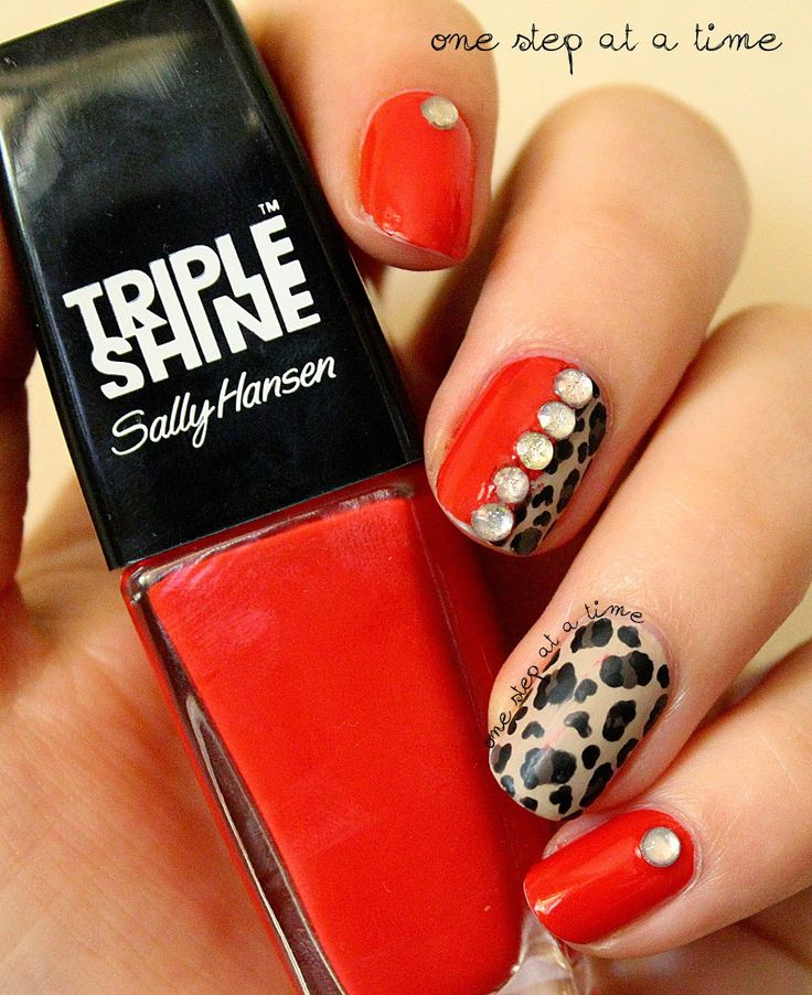 Red + Leopard Print Nails | One Step At A Time