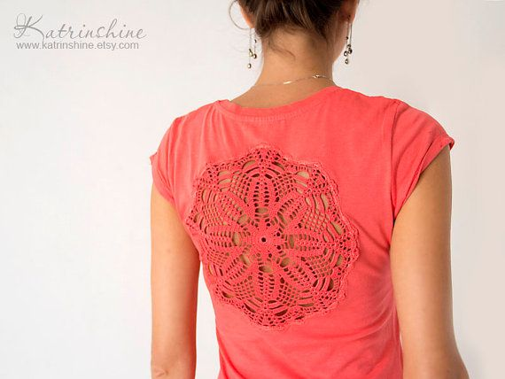 Coral red t-shirt with upcycled vintage crochet doily back on Etsy, $35.00