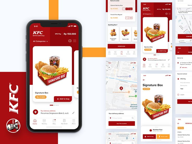 More screens kfc delivery app exploration kfc delivery