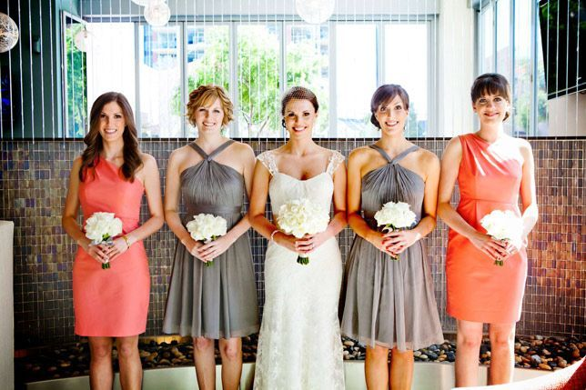 coral and gray bridesmaids dresses- love the color combo