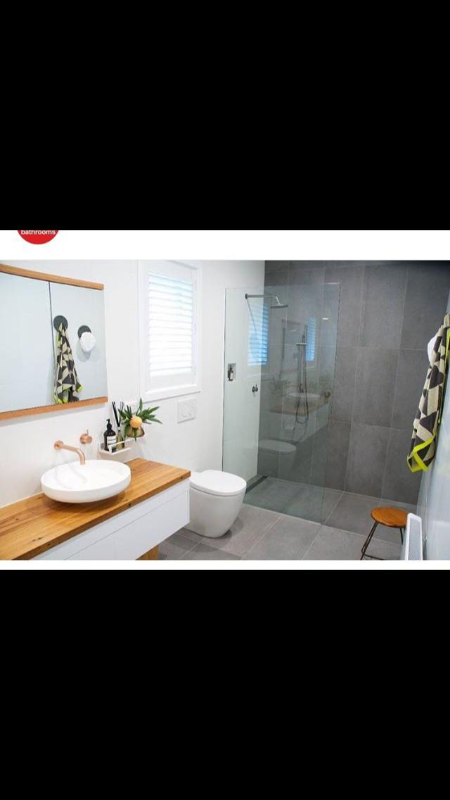 Grey, white, timber bathroom.