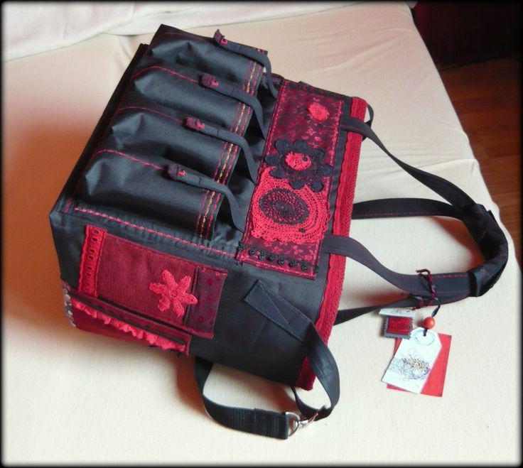 Handmade by Judy Majoros - Black-red chrochet scrapbooking tote-bag. Recycled bag. Materials:chrochet-cordura-rubber strap-velcro-lace-satin...