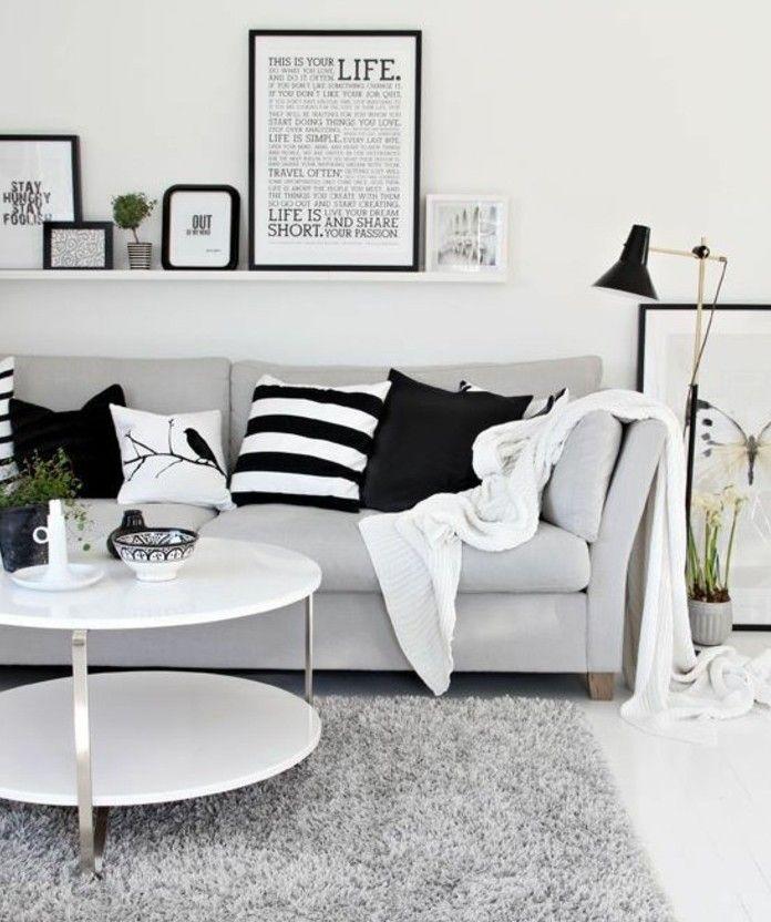 deco salon blanc, combinée avec des éléments gris et noirs, amenagement salon charmant, inspiration scandinave