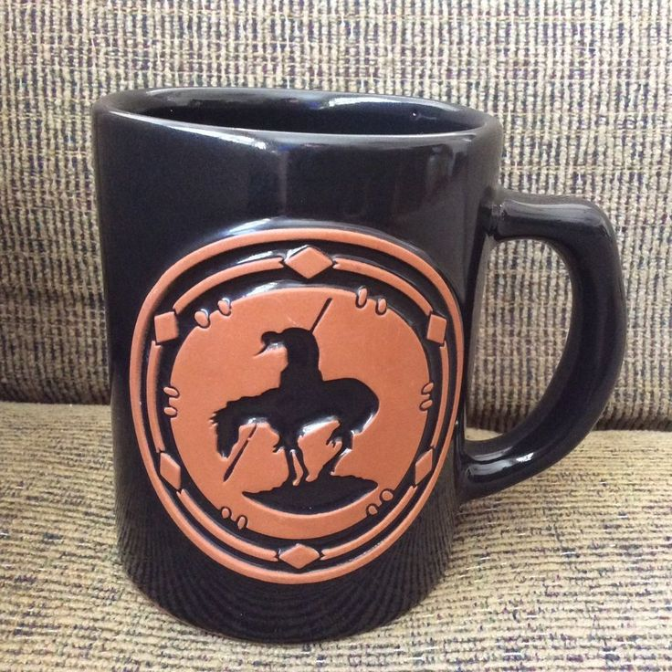 Frankoma Coffee Cup Mug Black Red Clay Pottery Embossed Man Horse Southwestern #Frankoma