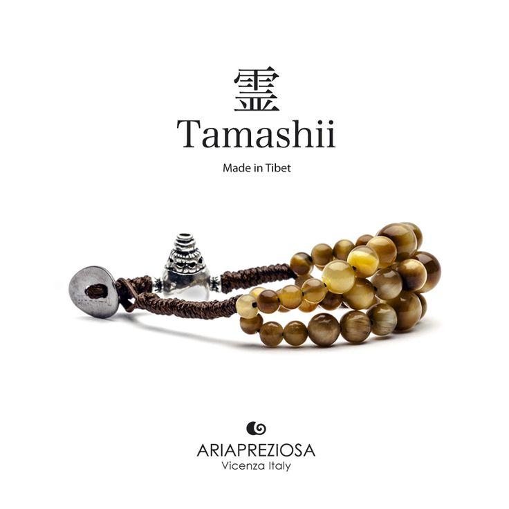 Bracciale Tamashii Dul Ba originale realizzato con pietre naturali OCCHIO DI TIGRE.  Composto da 3 file di pietre, simboleggia la disciplina, che nel buddismo assume l'accezione di equilibrio.