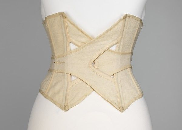 During the 19th century, holidays at the beach were seen as beneficial to one's health, but also as fun. Women who participated in these outings wore modest bathing dresses or bathing costumes. Therefore, a corset was often required, even while bathing, which, along with an increased participation of women in other sporting activities, led to a burst of inventiveness in corset shapes. This example of a bathing corset is lightly boned, and made of wool, as were many bathing suits of the time.