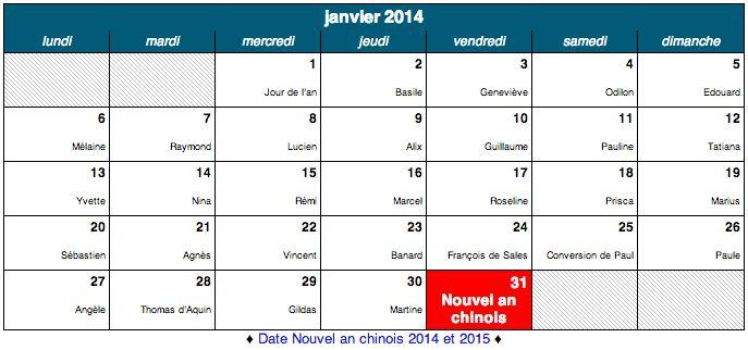 Dates des fêtes de Janvier 2014, et tous les Saint à souhaiter.  Ne ratez aucunes fêtes grâce à notre calendrier de fête.  http://www.merci-facteur.com/dates-des-fetes.php