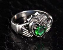 Claddagh ring, silver claddagh ring, men's claddagh ring, green cz claddagh ring, August birthstone ring, men's peridot claddagh ring