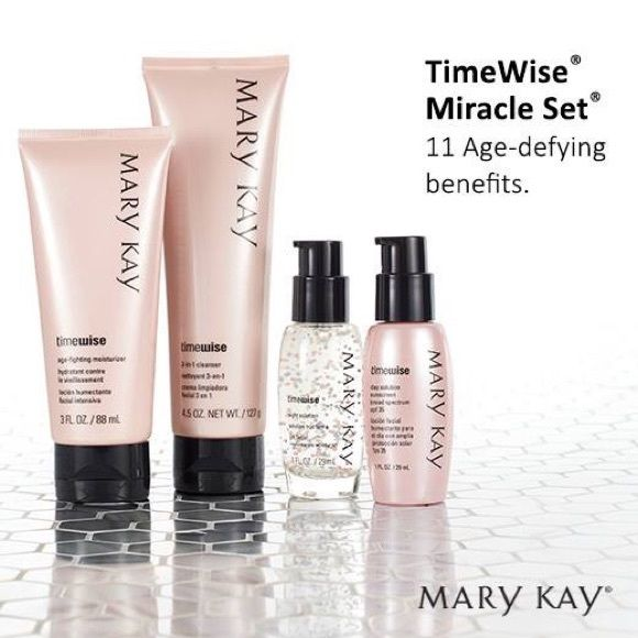 Mary Kay Time Wise Miracle Set TimeWise 3 in 1 Cleanser (4.5 oz), TimeWise Age Fighting Moisturizer (3 Fl oz), TimeWise Day Solution Sunscreen Broad Spectrum SPF 35 (1 fl oz) and TimeWise Night Solution (1 fl oz). To view more products and for more details visit www.marykay.com/lfeatherson Mary Kay Makeup