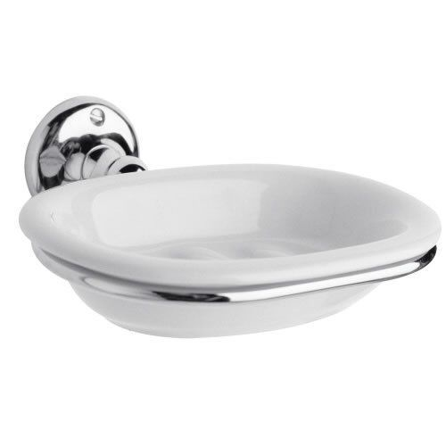 Traditional White Ceramic Bathroom Accessories Soap Dish With Chrome Holder