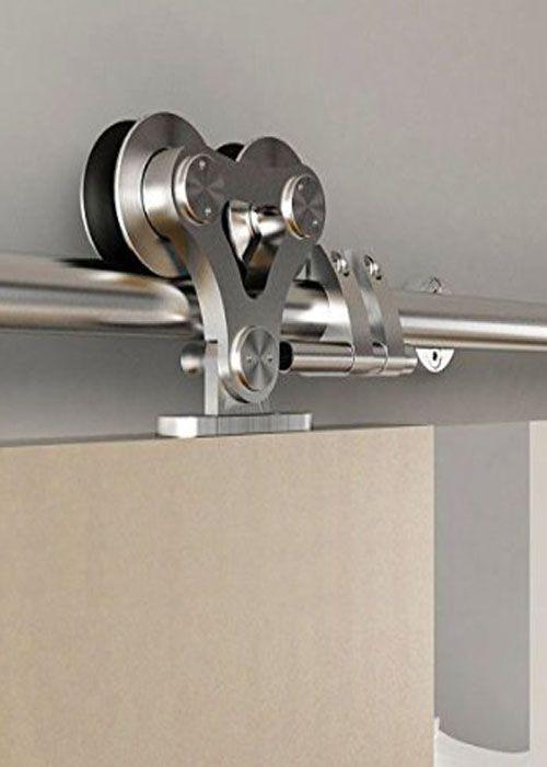 DIYHD Top mounted double head stainless steel sliding barn door hardware 5ft 6ft 6.6ft 8ft single door kit