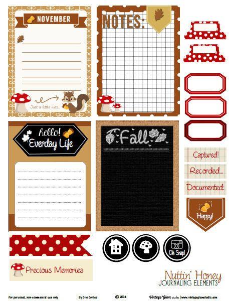 FREE Nuttin Honey Journaling Cards - Free Printable Download By Vintage Glam Studio