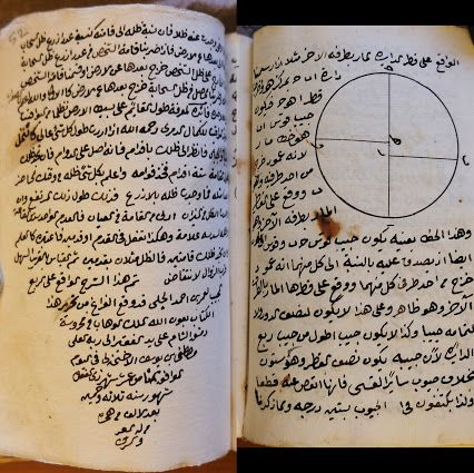 An Arabic manuscript on the manual / epistle of the use of astronomical instrument particularly a quadrant (SHARH RISĀLAH FĪ AL-`AMAL BI AR-RUB` AL-MUJAYYAB) in Naskh script (levant style) of 138 pages.  The manuscript is authored by Muhammad ibn Sibt Al-Mardini (deceased in 1501 AD). However this manuscript was copied by Mustafa Ibn Yusuf al-Akhnali and completed on 18th of Dhulqa'idah 1053 AH (28th January 1644 AD) in the Ottoman province of Damascus, Syria.