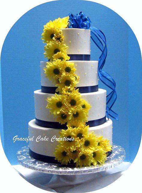 White, Navy Blue and Yellow Wedding Cake | Flickr - Photo Sharing!