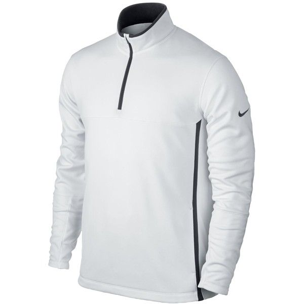 Nike Men's Therma-Fit Golf Cover-Up Jacket ($70) ❤ liked on Polyvore featuring men's fashion, men's clothing, men's activewear, men's activewear jackets, white and mens activewear