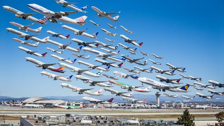 Every departure from LAX's South Complex and a few arrivals at the north complex have been captured and pieced together to create this image.